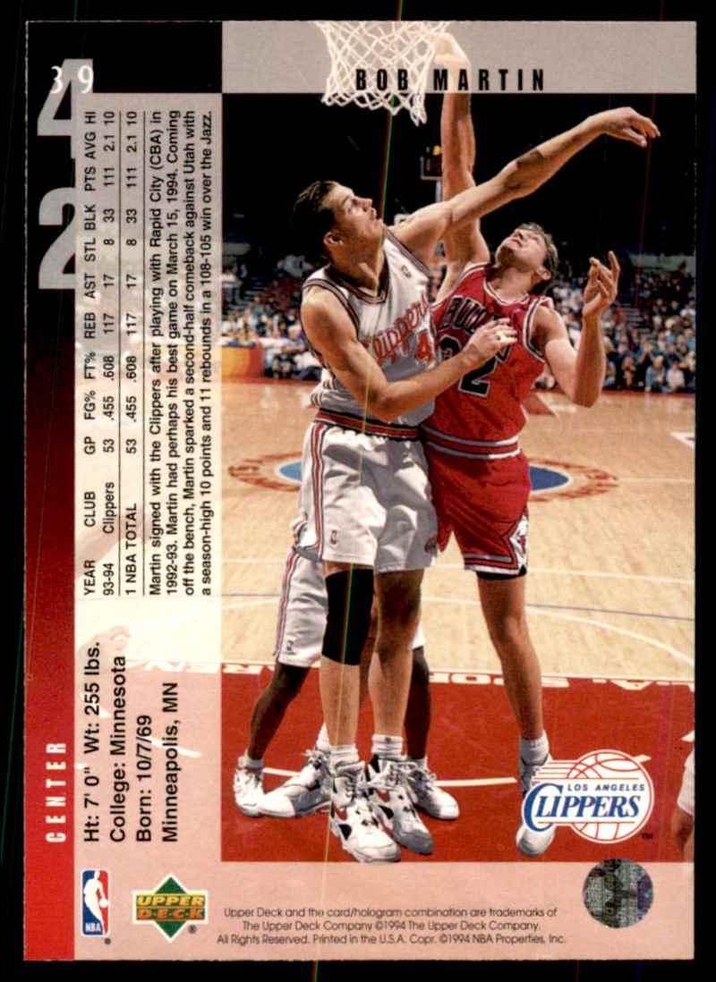 1994-95 Upper Deck Bob Martin #39 card back image