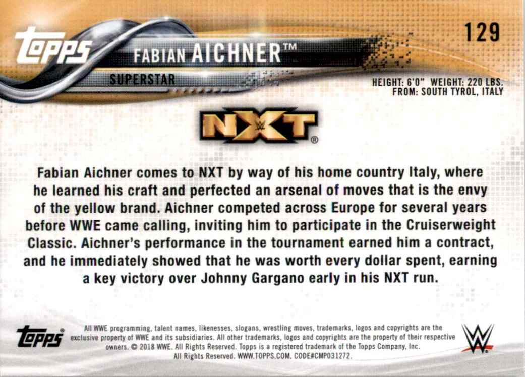 2018 Topps Wwe Then Now Forever Fabian Aichner #129 card back image
