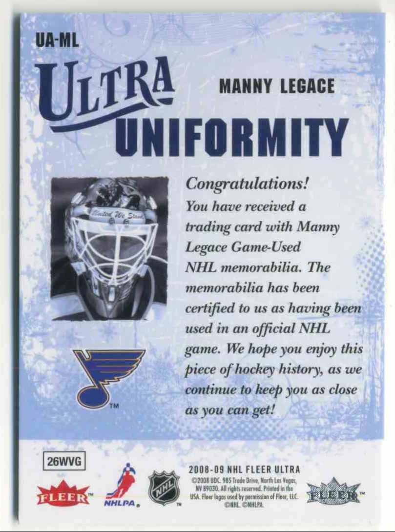 2008-09 Fleer Ultra Ultra Uniformity Manny Legace #UA-ML card back image