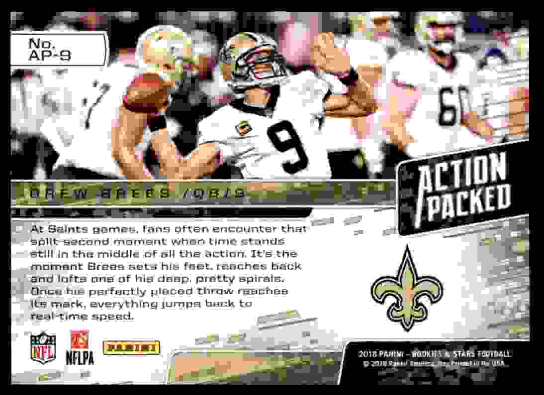 2018 Rookies & Stars Action Packed Drew Brees #AP-9 card back image