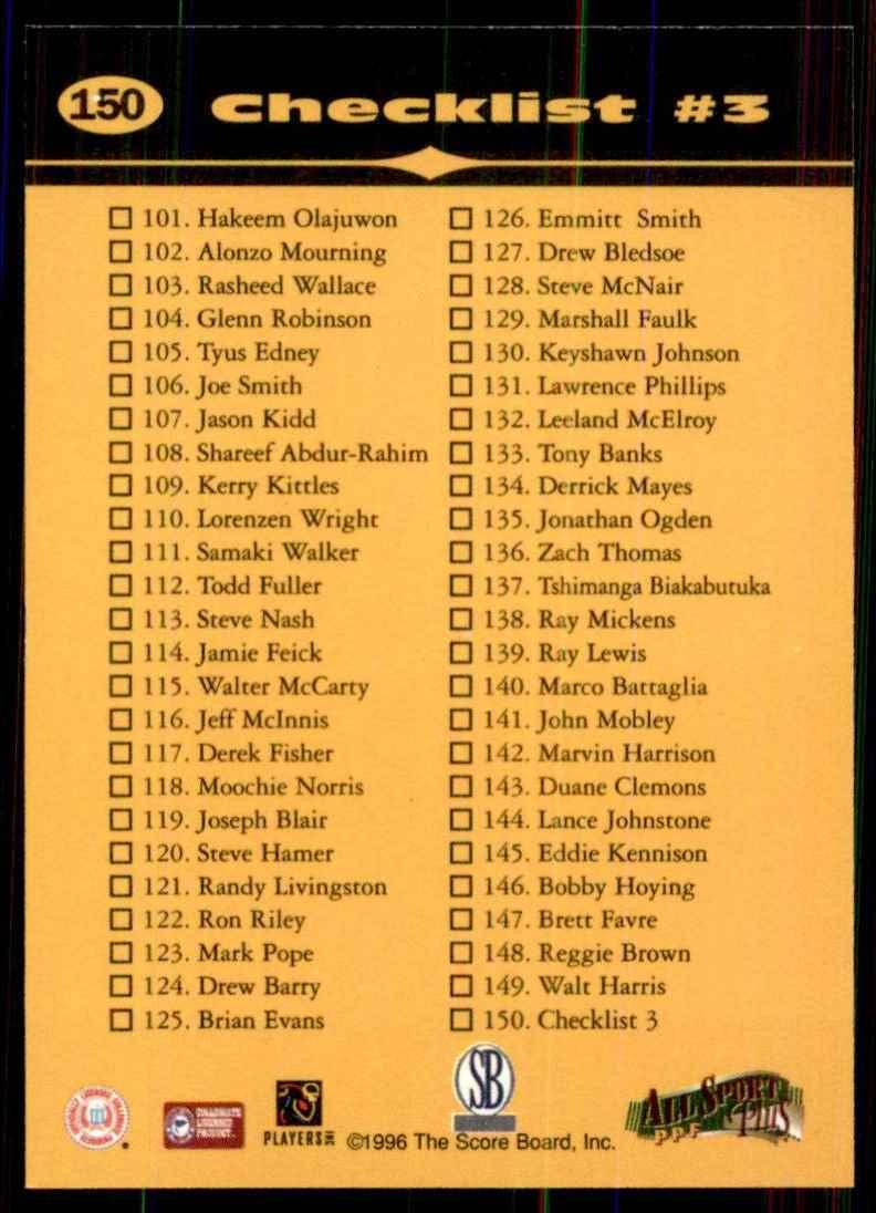 1996-97 Score Board All Sport Ppf Kobe Bryant CL #150 card back image