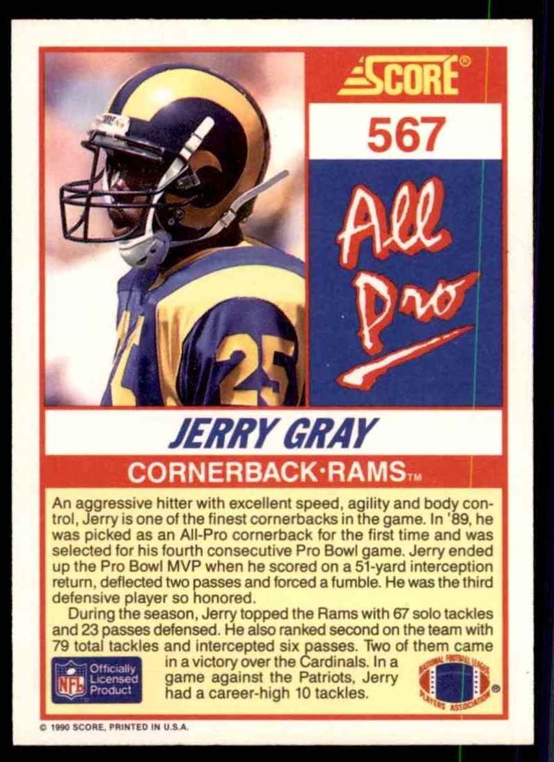 1990 Score Jerry Gray Ap #567 card back image