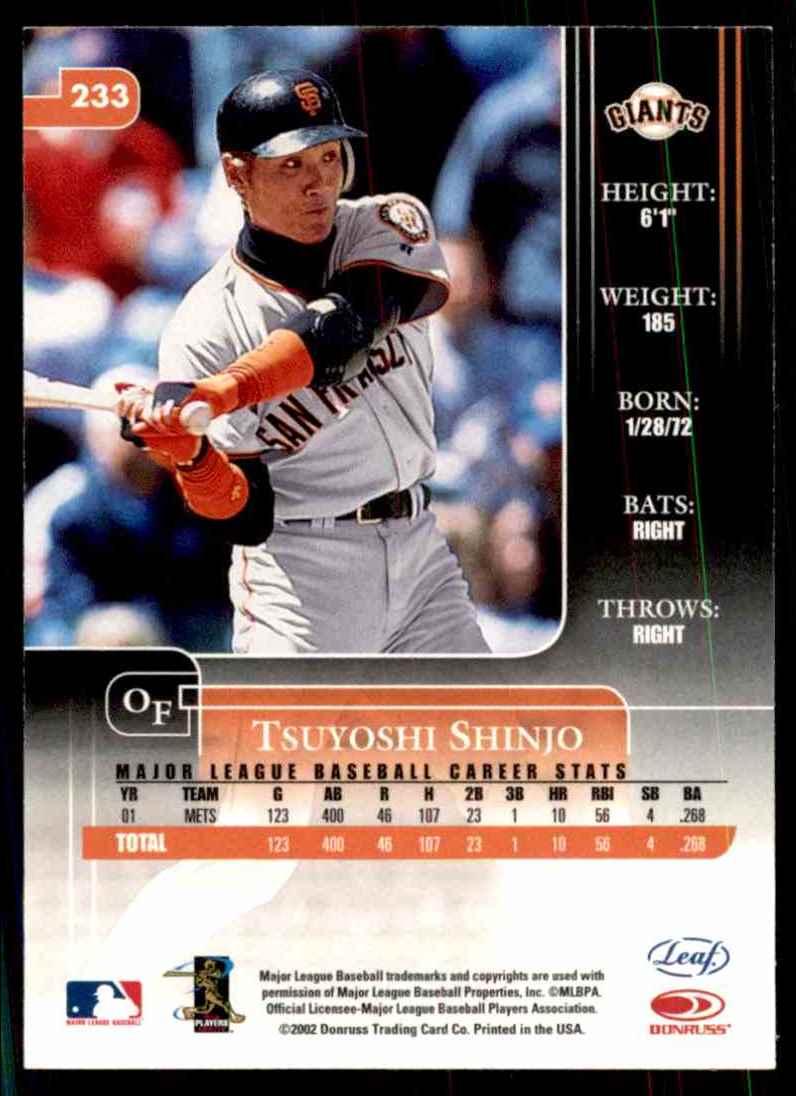 2002 Leaf Rookies & Stars Tsuyoshi Shinjo #233 card back image