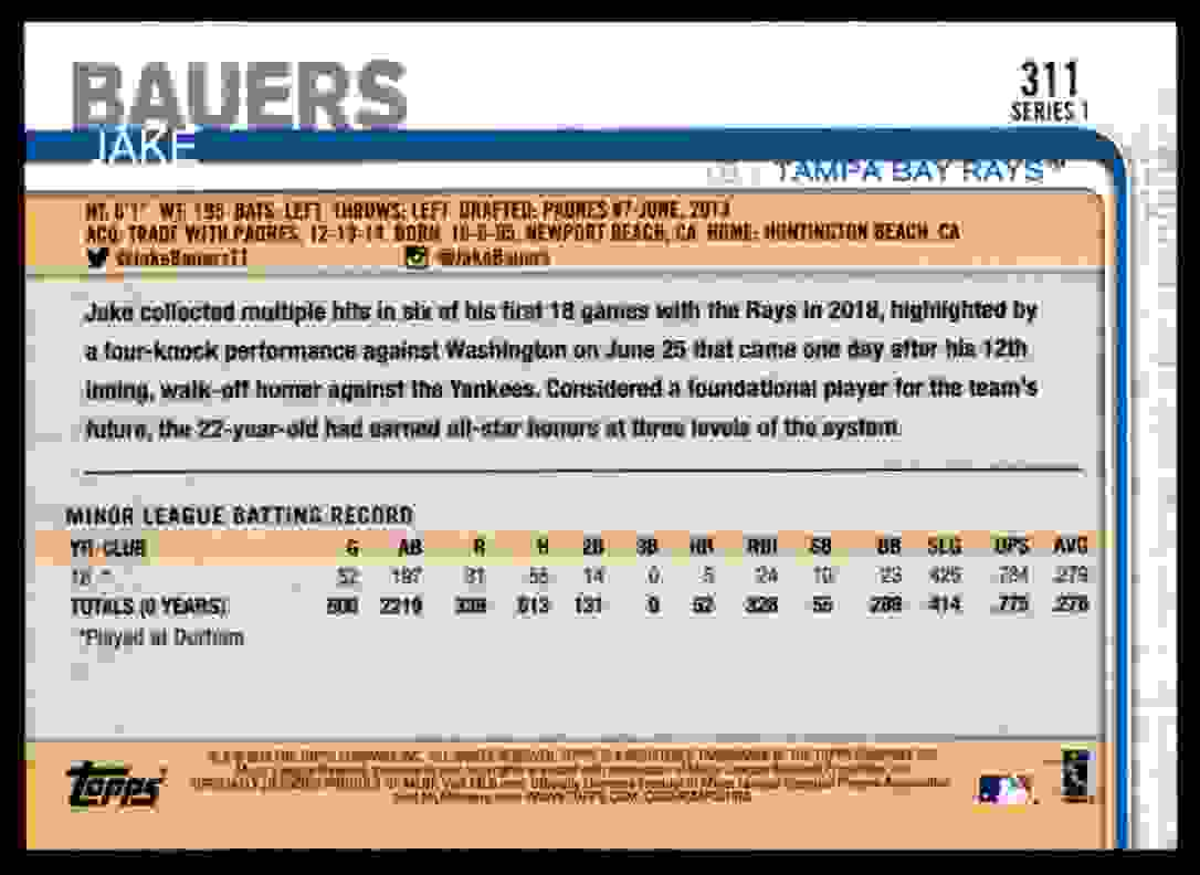 2019 Topps Jake Bauers #311 card back image