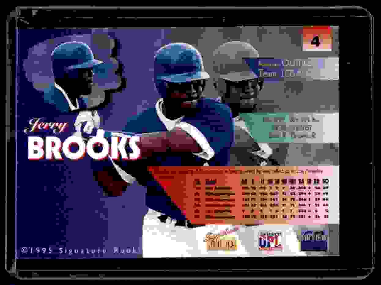 1995 Signature Rookies Previews Signatures Jerry Brooks #4 card back image