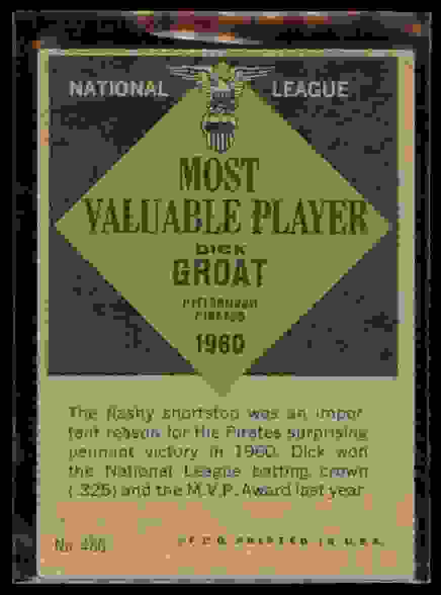 1961 Topps Dick Groat #486 card back image