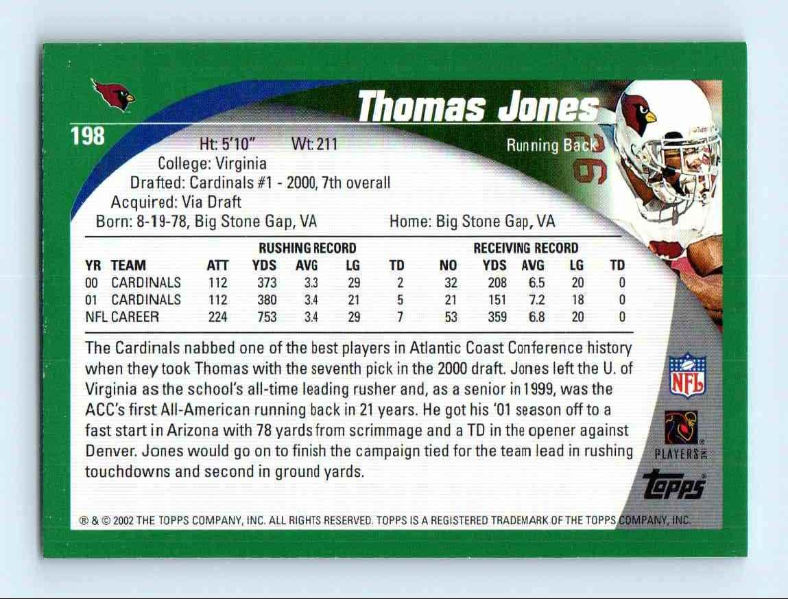 2002 Topps Thomas Jones #198 card back image