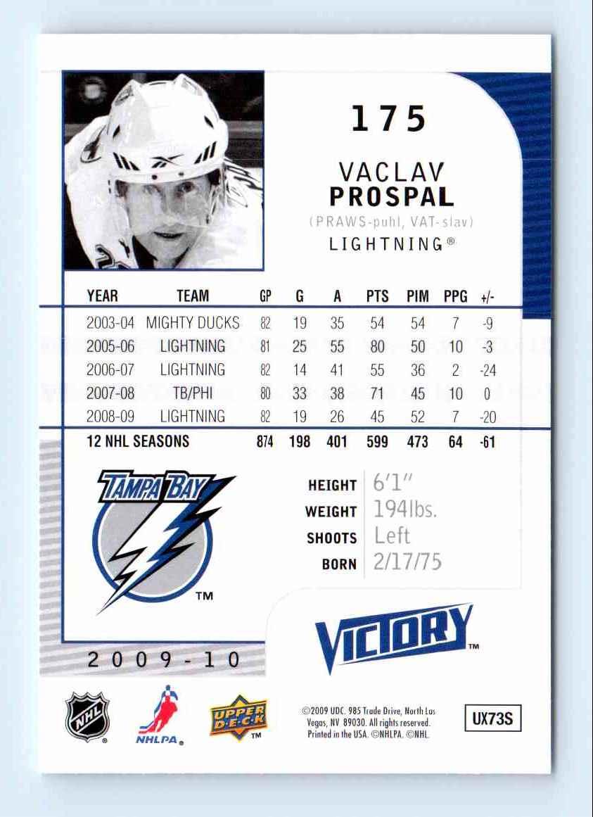 2009-10 Upper Deck Victory Vaclav Prospal #175 card back image