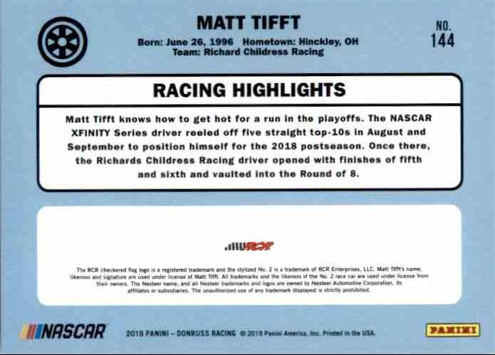 2019 Donruss Matt Tifft #144 card back image