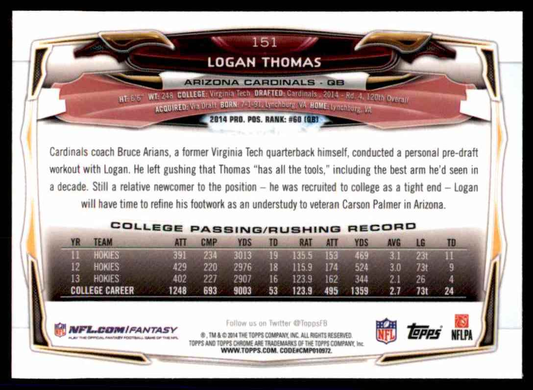 2014 Topps Chrome Logan Thomas RC #151 card back image