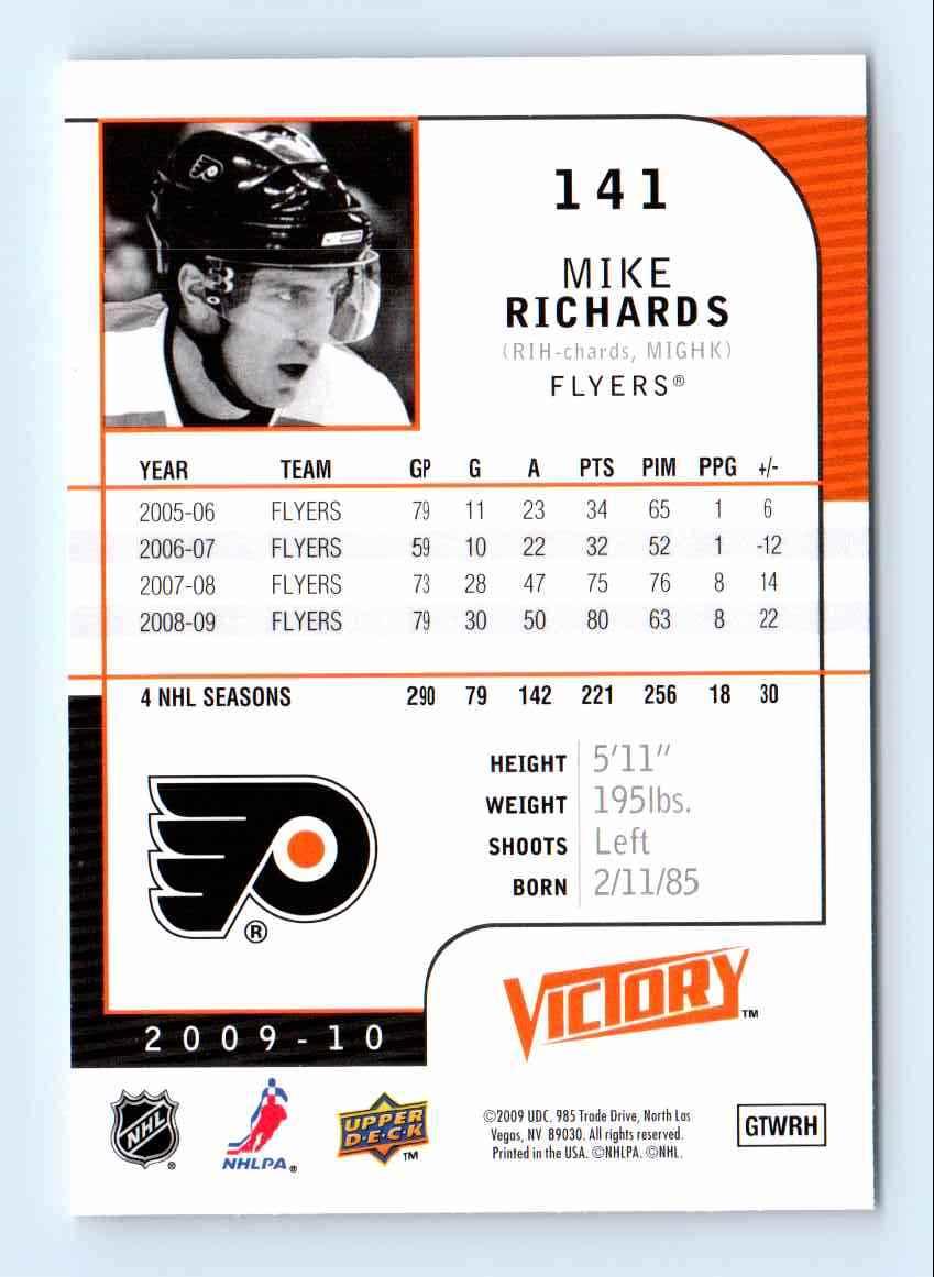 2009-10 Upper Deck Victory Mike Richards #141 card back image