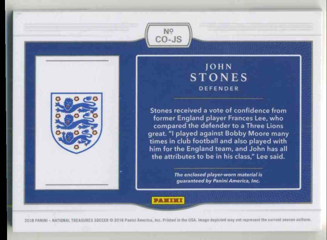 2018 Panini National Treasures Colossal Materials Gold John Stones #CO-JS card back image
