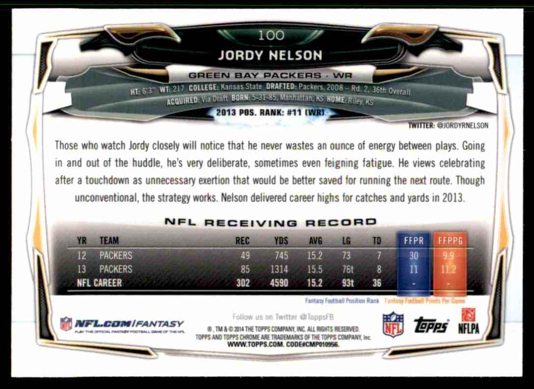 2014 Topps Chrome Jordy Nelson #100 card back image