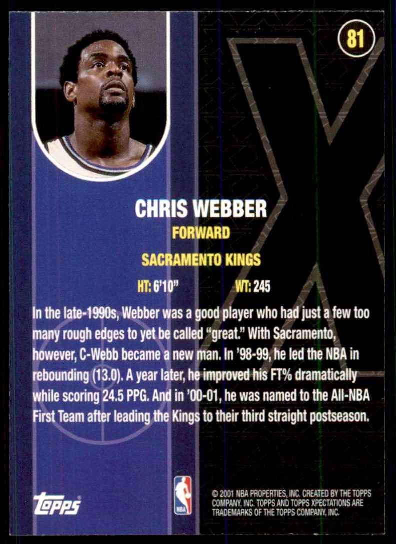 2001-02 Topps Xpectations Chris Webber #81 card back image