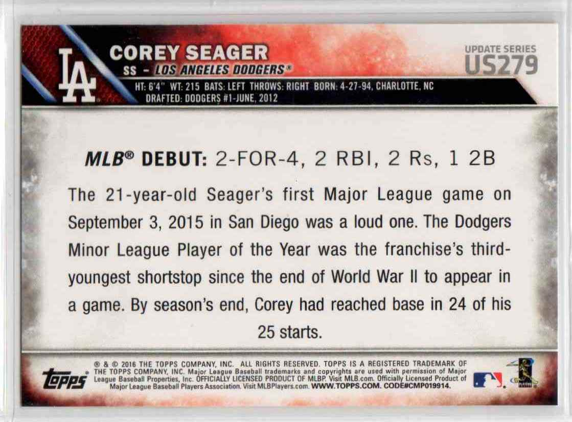 2016 Topps Update Corey Seager RD #US279 card back image