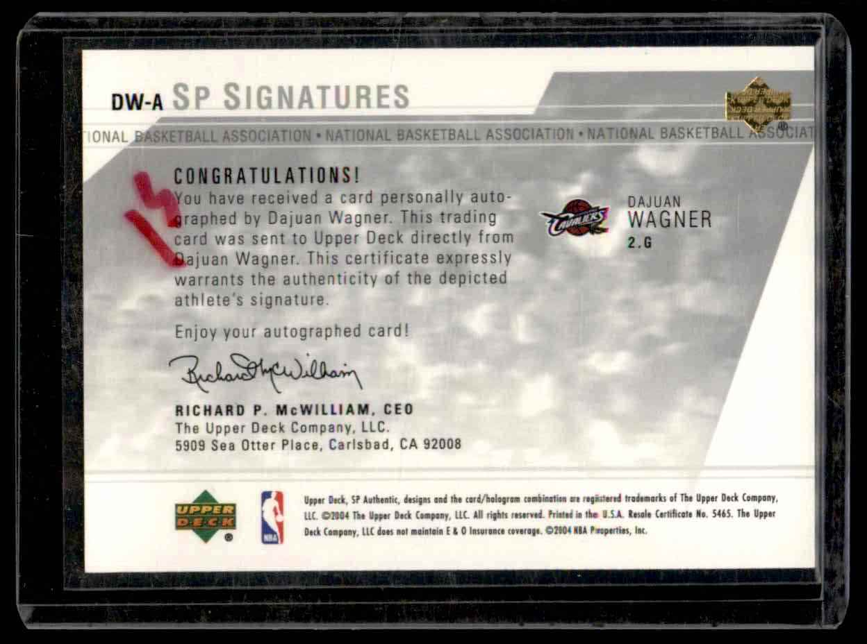 2003-04 SP Authentic Signatures Dajuan Wagner #DWA card back image