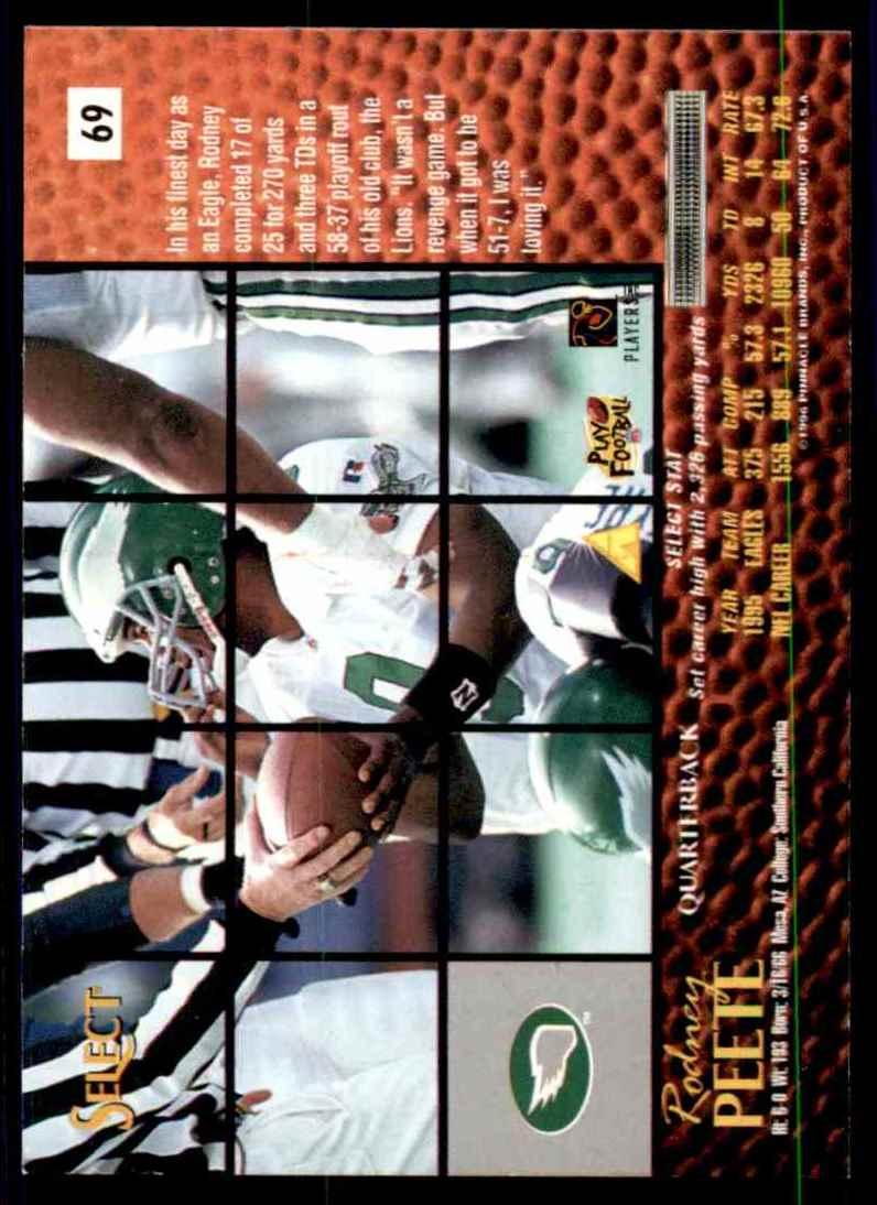 1996 Select Rodney Peete #69 card back image