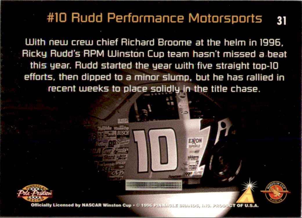 1996 Pinnacle Pole Position Ricky Rudd's Car #31 card back image
