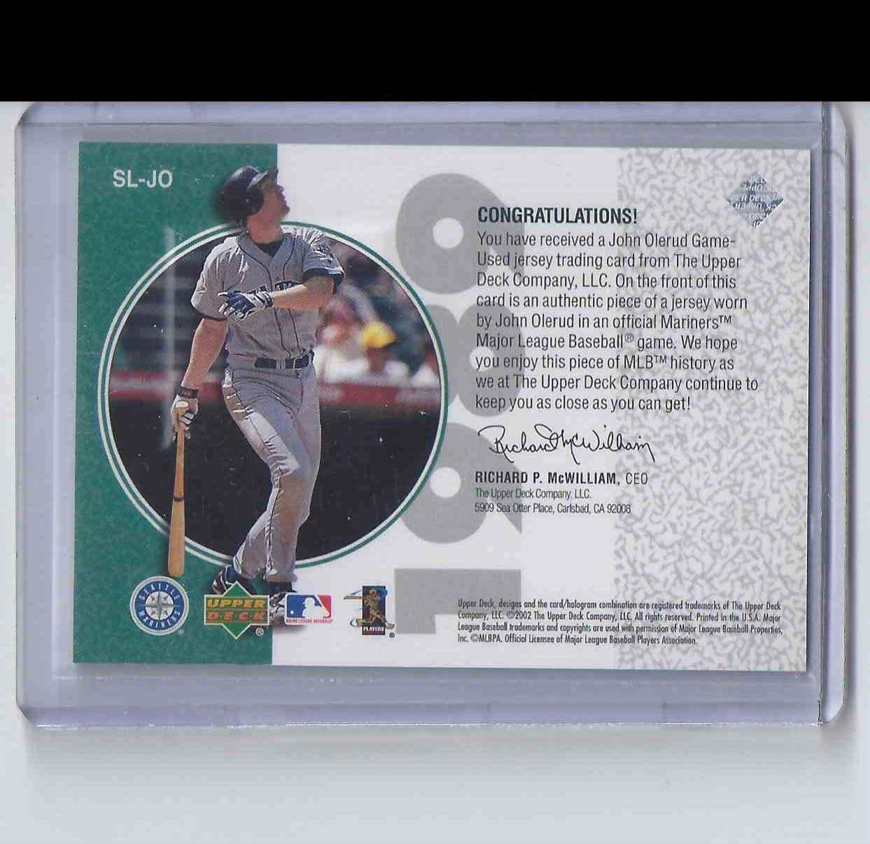 2002 UD Authentics Stars Of 89 John Olerud #SLJO card back image
