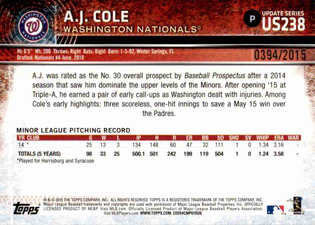 2015 Topps Gold A.J. Cole #US238 card back image
