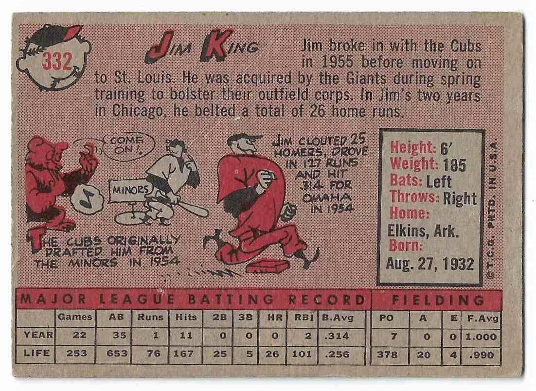 1958 Topps Jim King #332 card back image