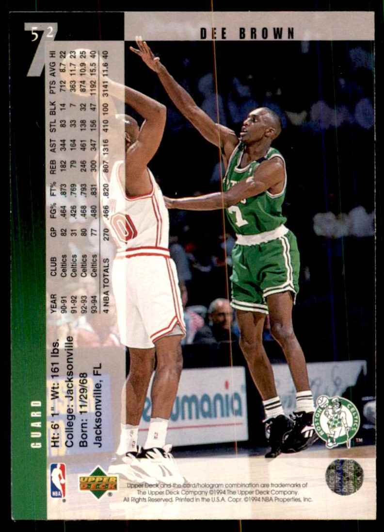 1994-95 Upper Deck Dee Brown #52 card back image