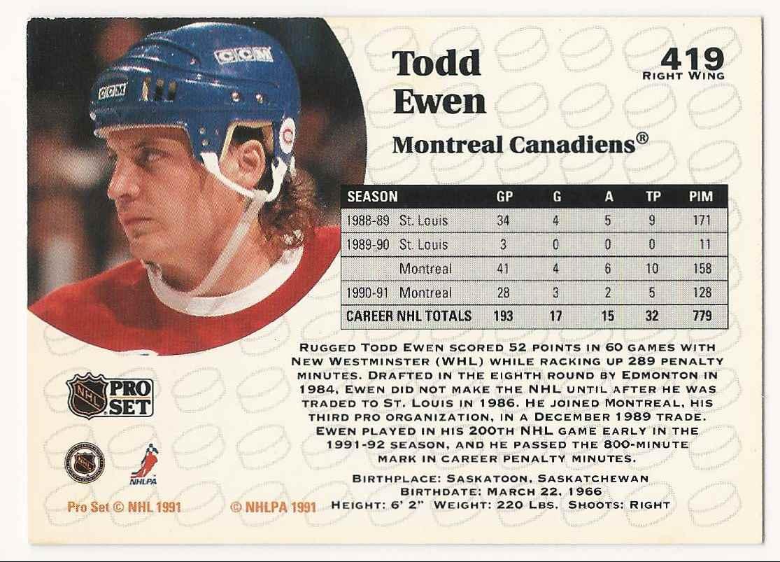 1991-92 Pro Set Todd Ewen #419 card back image