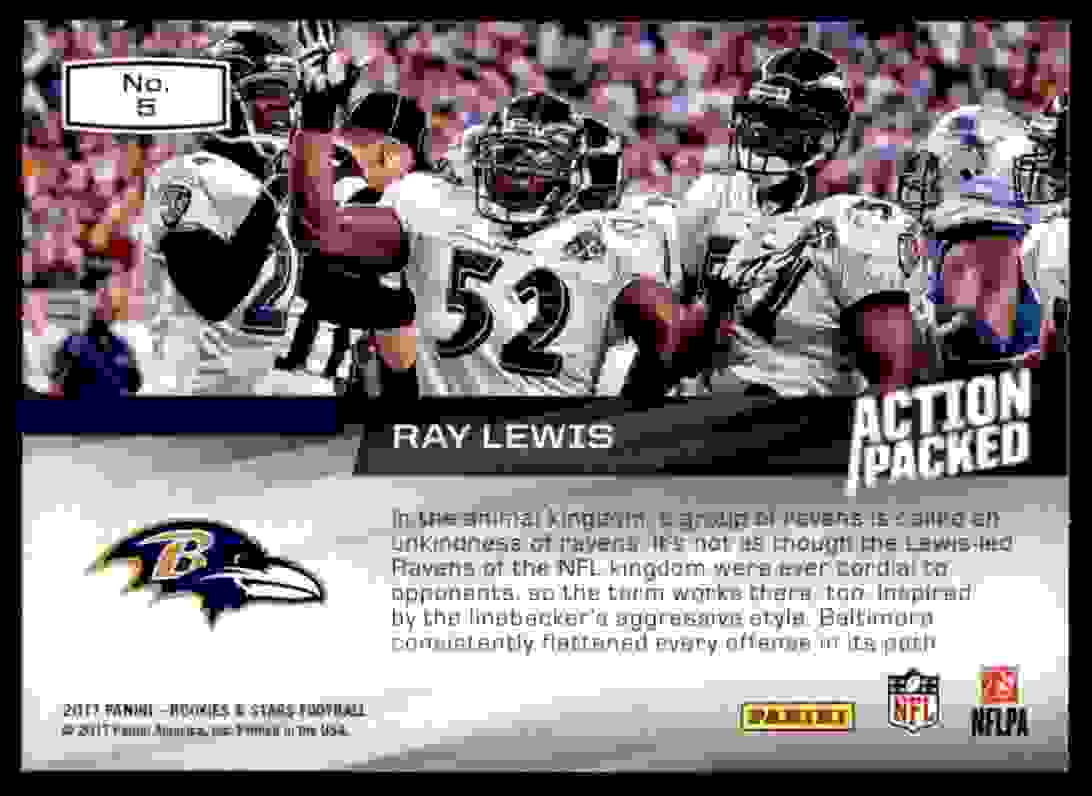 2017 Rookies And Stars Action Packed Ray Lewis #5 card back image