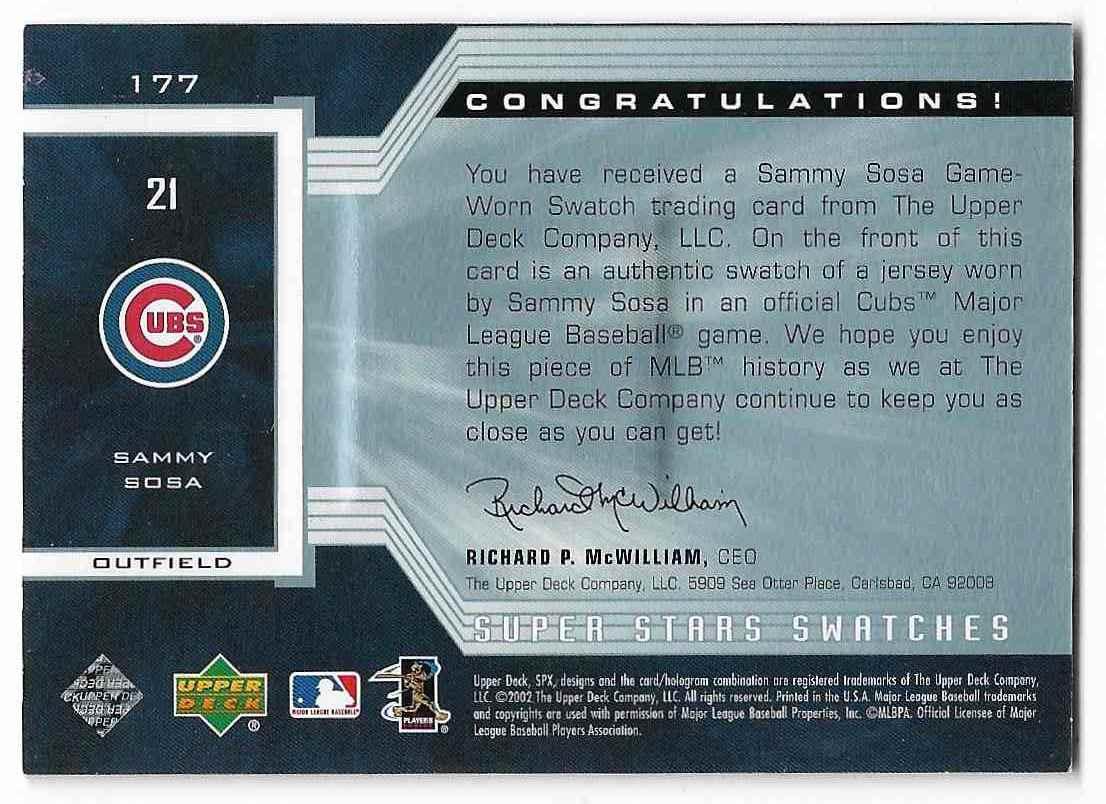 2002 Upper Deck SPx Sammy Sosa #177 card back image