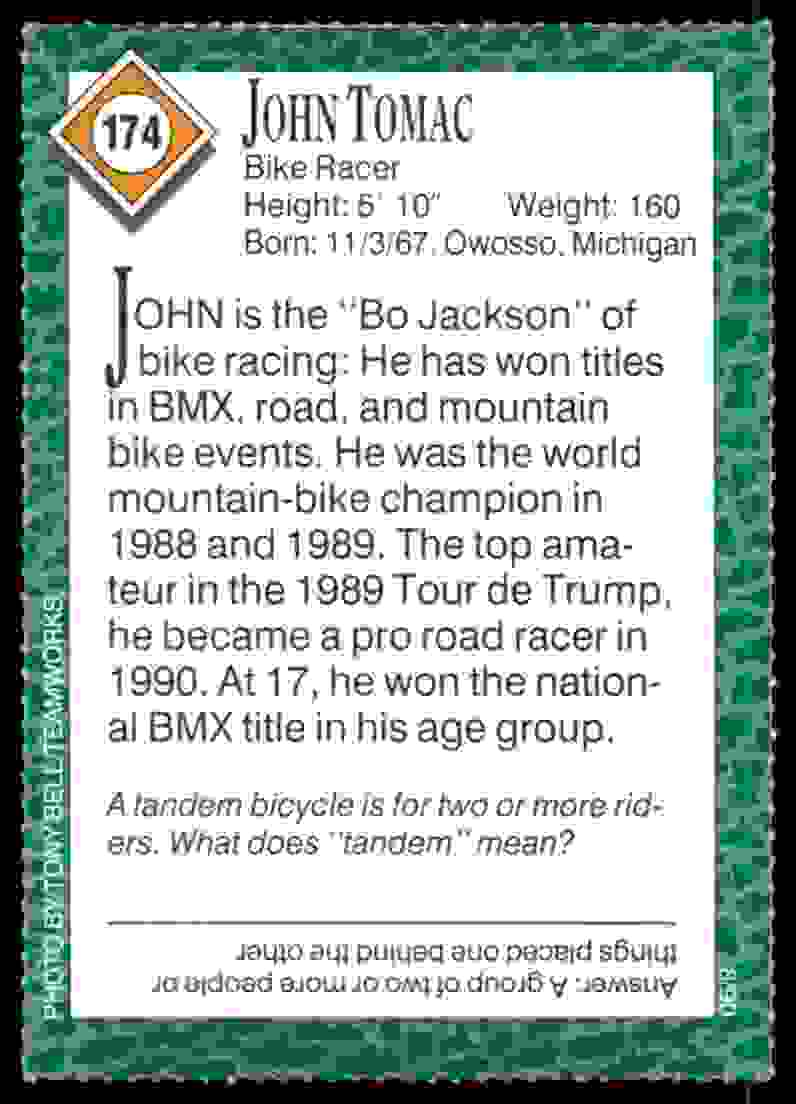 1990-91 Sports Illustrated For Kids John Tomac/Bike Racing #174 card back image