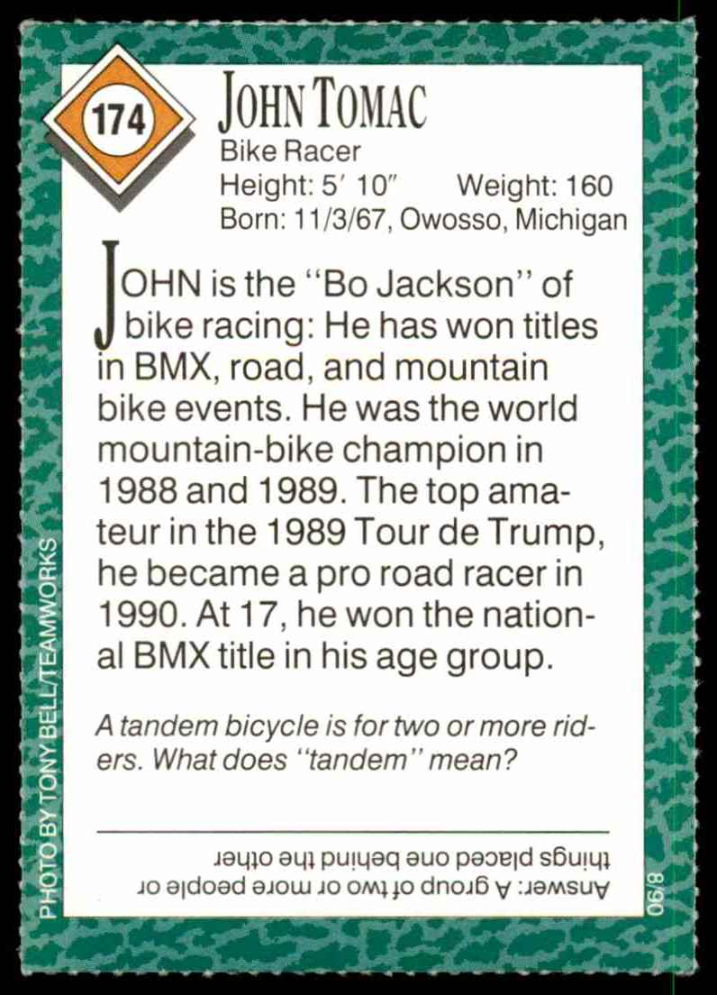 1990-91 Sports Illustrated For Kids John Tomac/Bike Racing #174 card back image