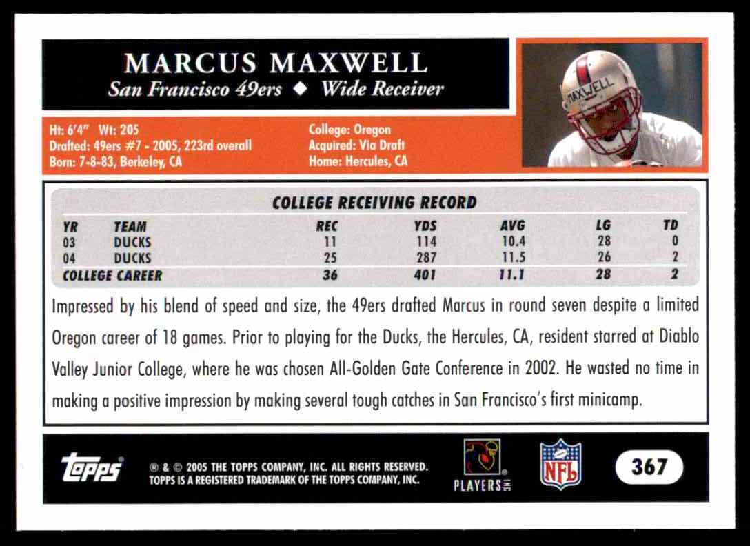 2005 Topps Marcus Maxwell #367 card back image
