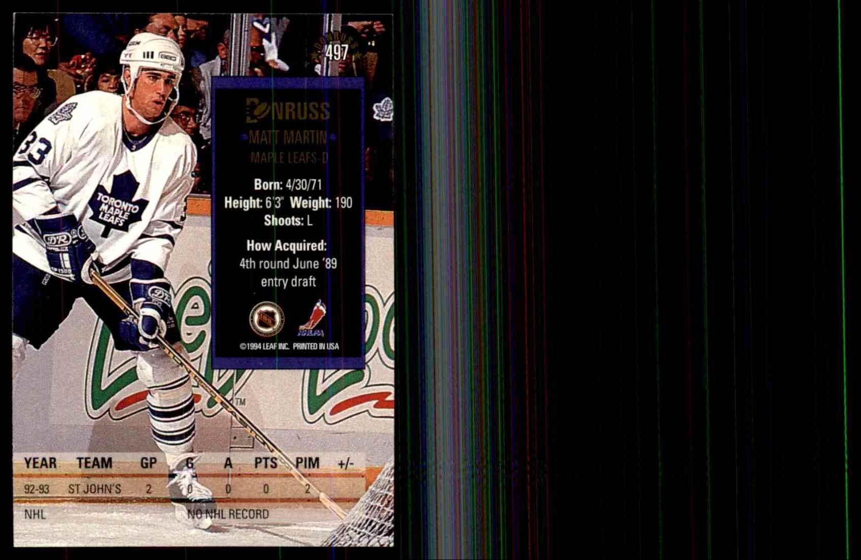 1993-94 Donruss Matt Martin RC #497 card back image