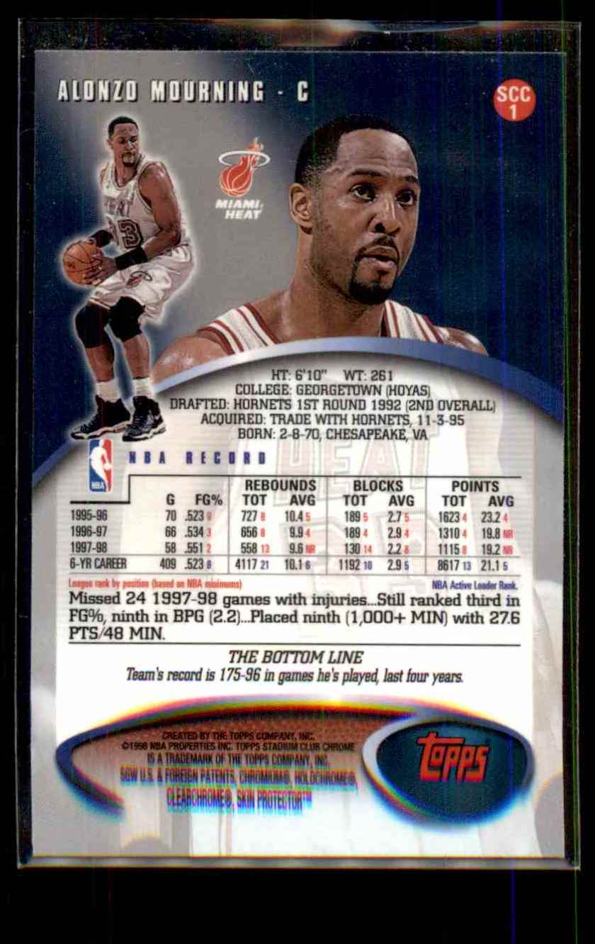 1998-99 Stadium Club Chrome Alonzo Mourning #SCC1 card back image