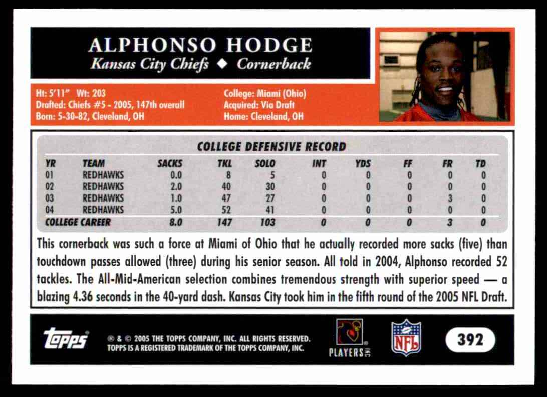 2005 Topps Alphonso Hodge #392 card back image