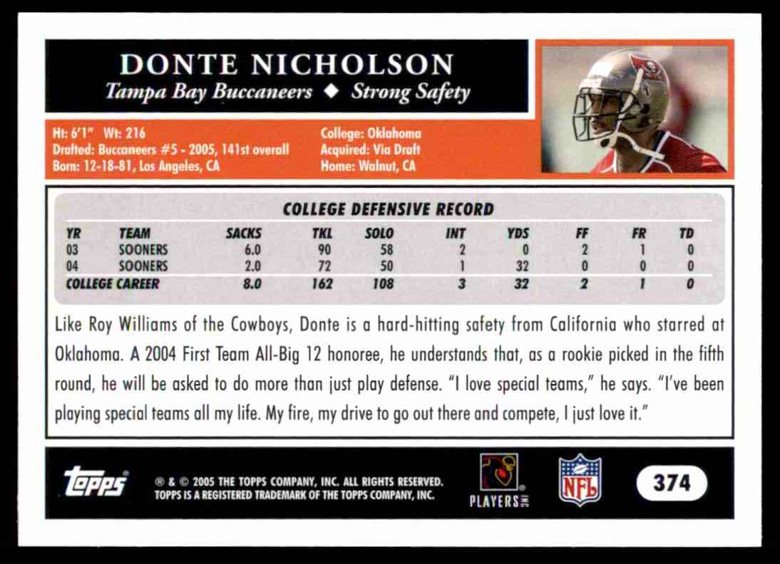 2005 Topps Donte Nicholson #374 card back image