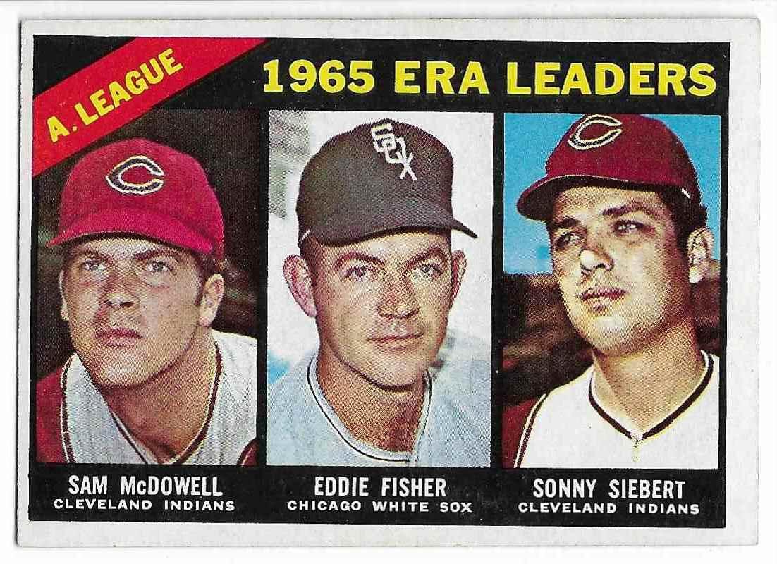 1966 Topps Sam Mcdowell, Eddie Fisher, Sonny Siebert #222 card front image