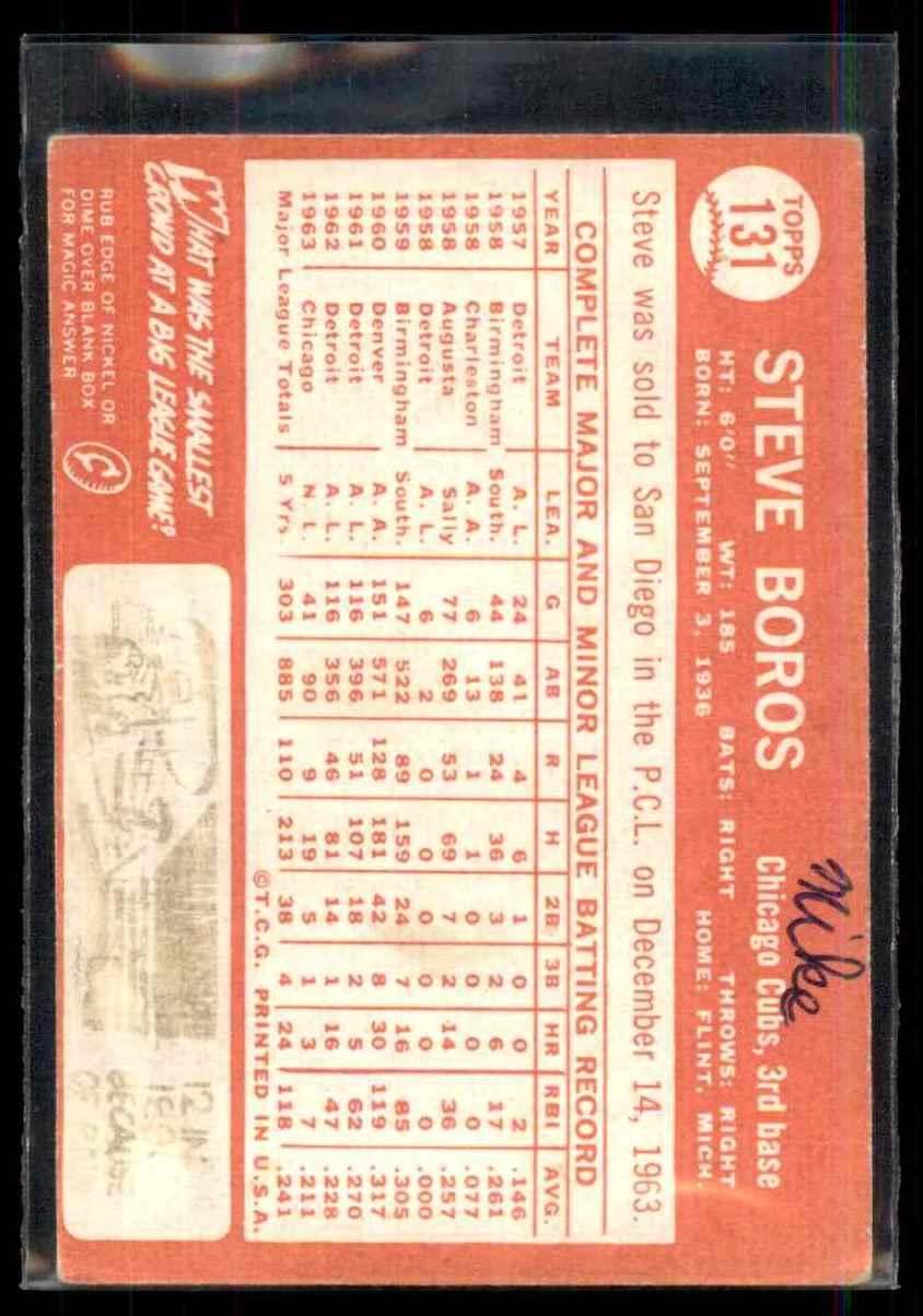 1964 Topps Steve Boros #131 card back image