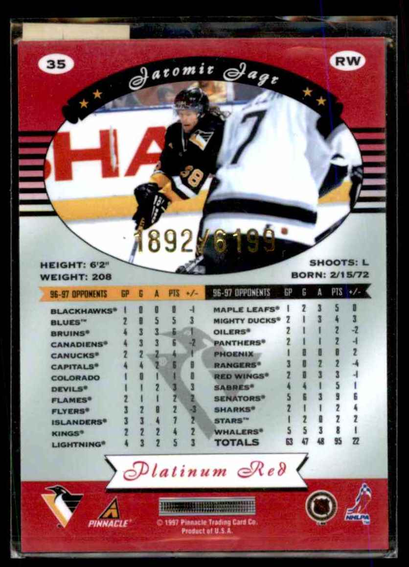 1997-98 Totally Certified Platinum Red Jaromir Jagr #35 card back image