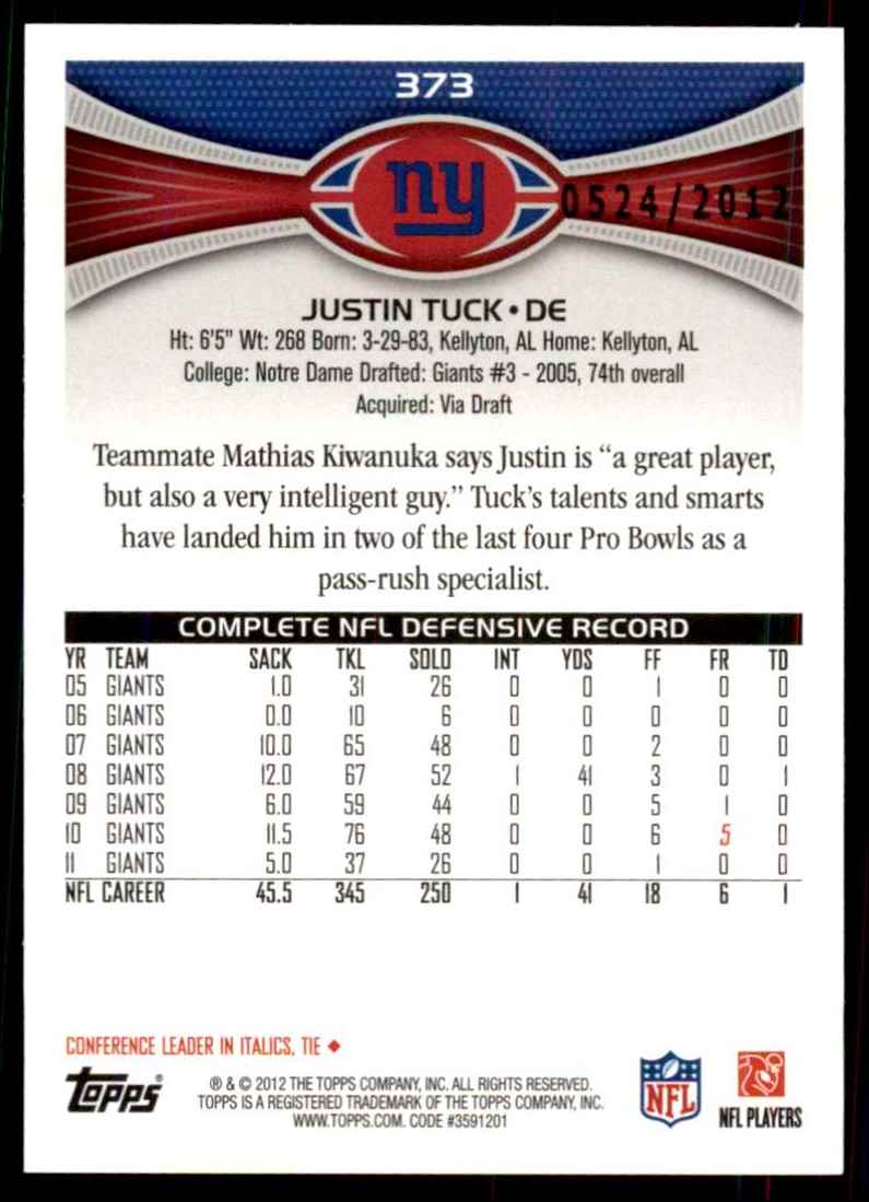 2012 Topps Gold Justin Tuck #373 card back image