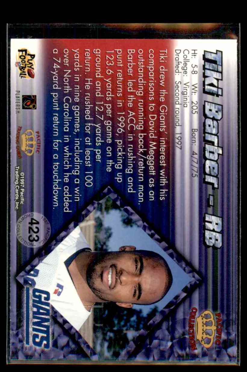 1997 Pacific Tiki Barber #423 card back image