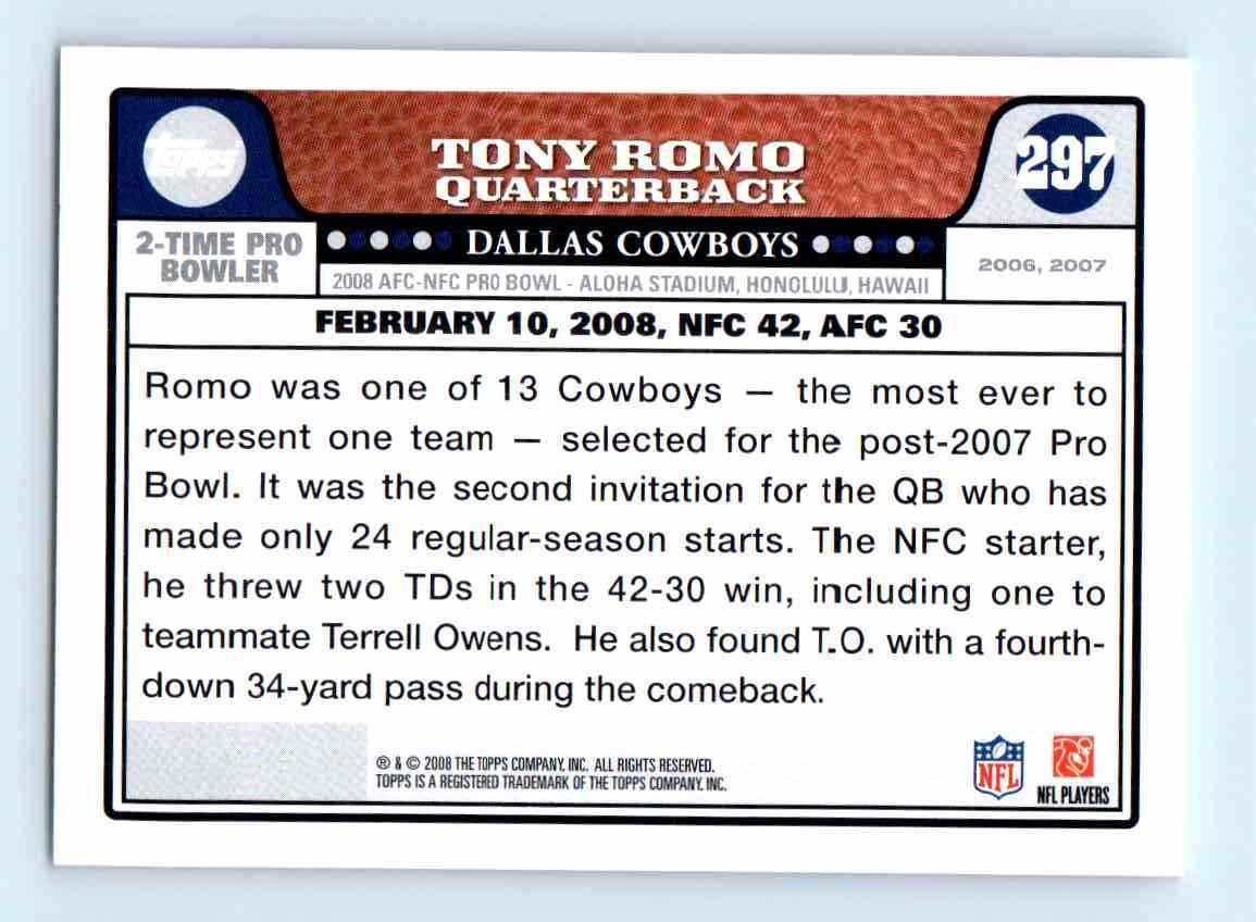 2008-09 Topps Tony Romo #297 card back image