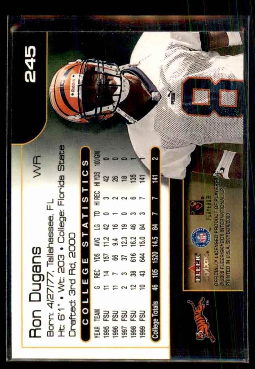 2000 Skybox Ron Dugans #245 card back image