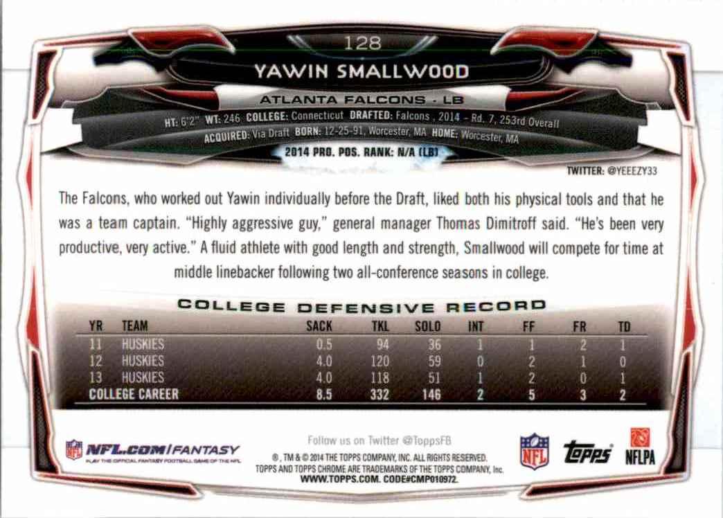 2014 Topps Chrome Yawin Smallwood RC #128 card back image