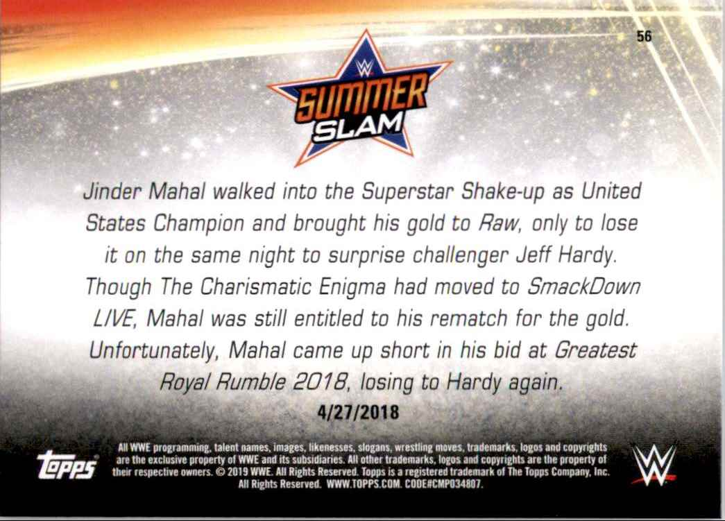 2019 Topps Wwe SummerSlam United States Champion Jeff Hardy Def. Jinder Mahal #56 card back image