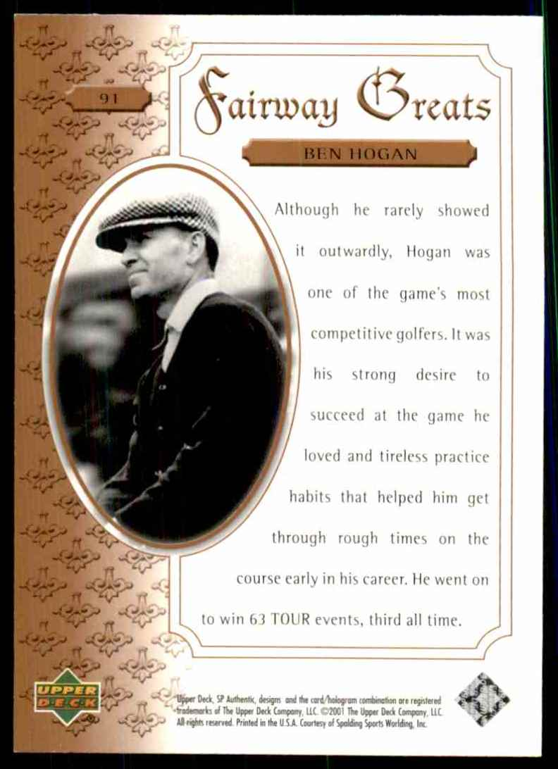 2001 SP Authentic Ben Hogan Fg #91 card back image