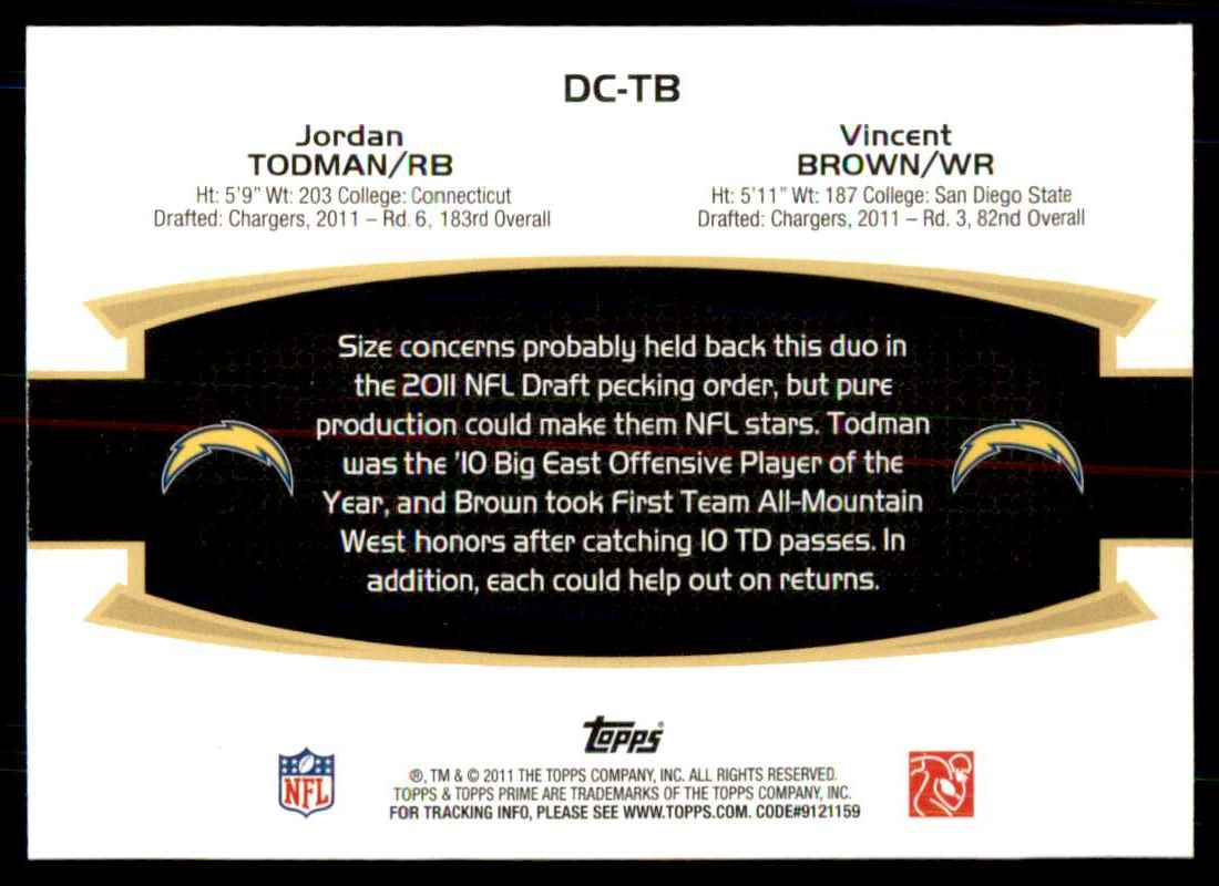 2011 Topps Prime Dual Jordan Todman/Vincent Brown #TB card back image