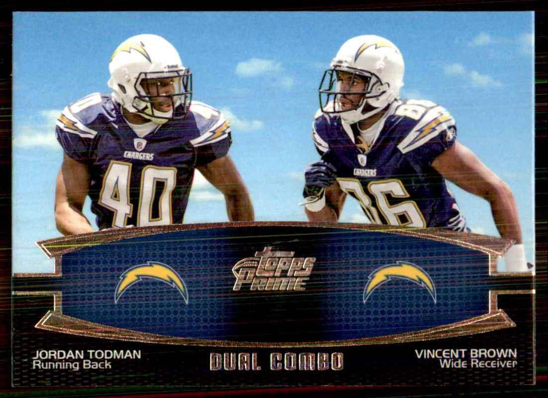 2011 Topps Prime Dual Jordan Todman/Vincent Brown #TB card front image