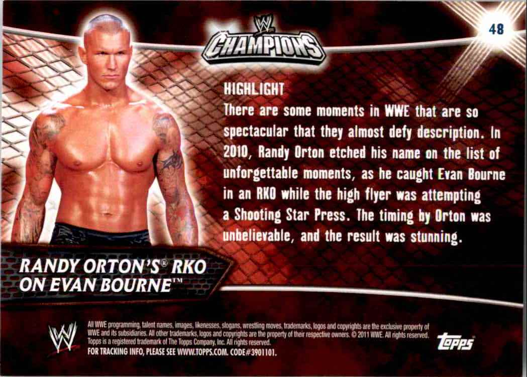 2011 Topps Wwe Champions Randy Orton's Rko On Evan Bourne #48 card back image