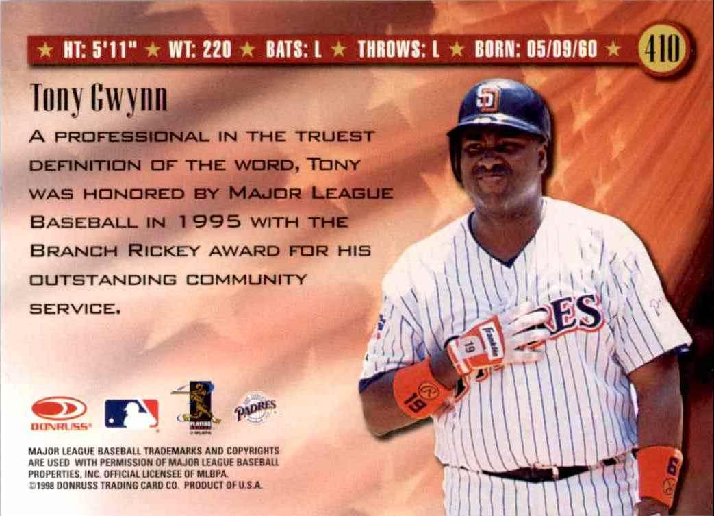 1998 Donruss Spirit Of The Game Tony Gwynn #410 card back image